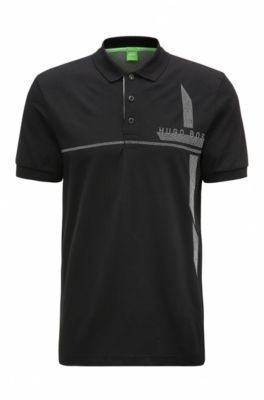 HUGO BOSS Piqué Cotton Polo Shirt, Slim Fit M-Paule L Black