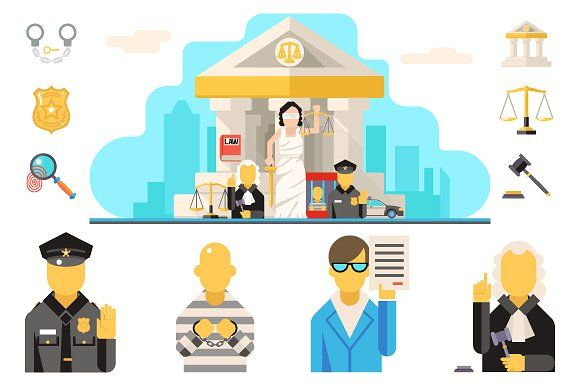 Courthouse Law Icons Set Justice by Meilun on @creativemarket