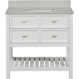 SCOTT LIVING Canterbury White (Common: 36-in x 22-in) Single Sink Poplar Bathroom Vanity with Engineered Stone Top (Mirror Included) (Actual: 36-in x 22-in)