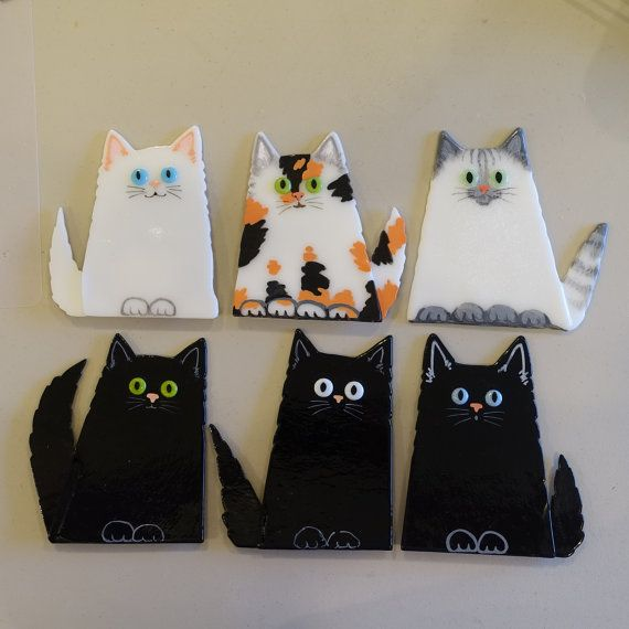 Fused Glass Cat by Greta Schneider for Your by coppercreekdesigns