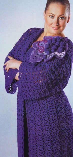 Ажурное пальто «Виноградная лоза». Модели для полных, связанные крючком