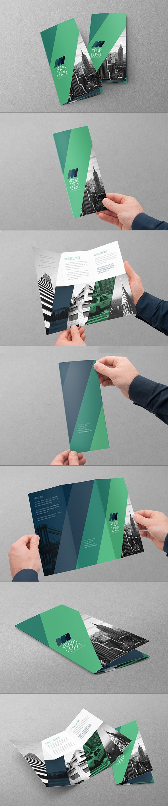 Clean Modern Green Blue Trifold on Behance