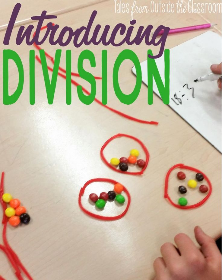 A blog post walking through a teacher's introduction of division using candy and task cards.