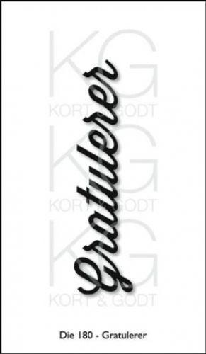KORT&GODT+-+DIE180+-+GRATULERER Diesen+kan+brukes+i+de+fleste+kuttemaskiner+som+Sizzix+Big+Shot,+Cuttlebug,+Grand+Calibur+osv.Mål+ca.80x20mm.+