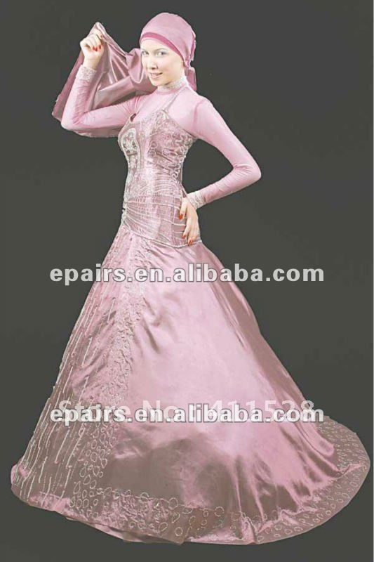 WD102 Newest Pink Appliqued Lace Corset Satin Long Sleeves High Neck Muslim Wedding Gown