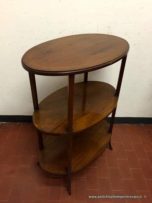 Mobili antichi - Tavoli e tavolini Tavolino ovale Vittoriano 3 piani d`appoggio - Tavolino in massello di mogano filettato Immagine n°1