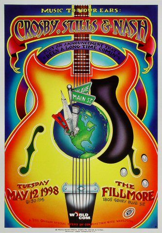 Crosby, Stills & Nash Poster - Rock posters, concert posters, and vintage posters from the Fillmore, Fillmore East, Winterland, Grande Ballroom, Armadillo World Headquarters, The Ark, The Bank, Kaleidoscope Club, Shrine Auditorium and Avalon Ballroom.