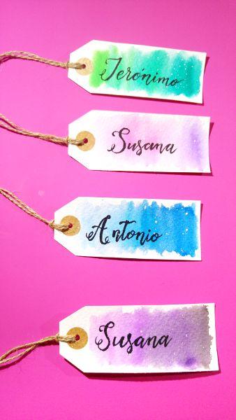 Etiquetas de acuarela, watercolor tags