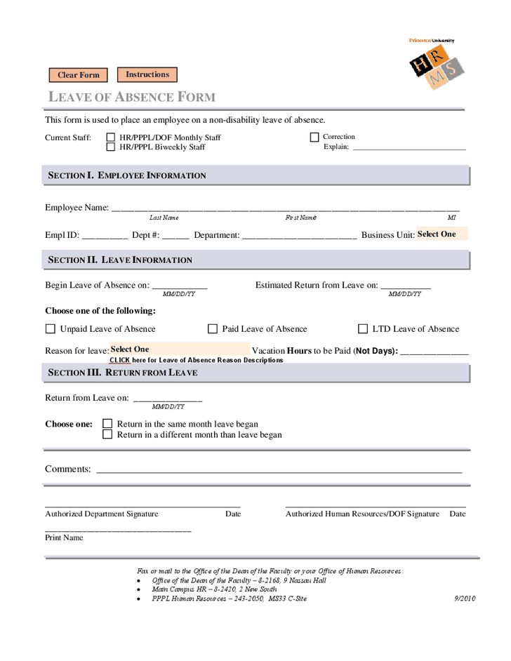 Leave of Absence Form forms Pinterest - resume performa