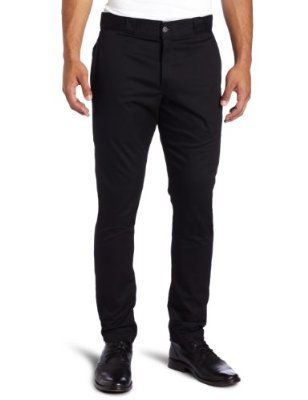Dickies Men's Skinny Straight Fit Work Pant Price:	$21.50 - $43.95 Features 81% Cotton/18% Polyester/1% Spandex Machine Wash Button closure Diagonal side pockets Back welt pockets Dickies Skinny Straight Fit Work Pant sits below the waist and offers a slim leg with stretch for modern appeal.