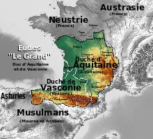 Eudes d'Aquitaine: duchés d'Aquitaine et de Vasconie (710-740).- CHARLES MARTEL. 2) PACIFICATION DU ROYAUME FRANC, 1: Aussitôt au pouvoir, Charles opère de grands changements dans son entourage, installant sur le trône d'Austrasie CLOTAIRE IV, et remplaçant RIGOBERT, l'évêque de Reims favorable à Plectrude. Puis petit à petit, il essaya de reprendre le contrôle de tout le royaume Franc, mais il dut de nouveau affronter la Neustrie.
