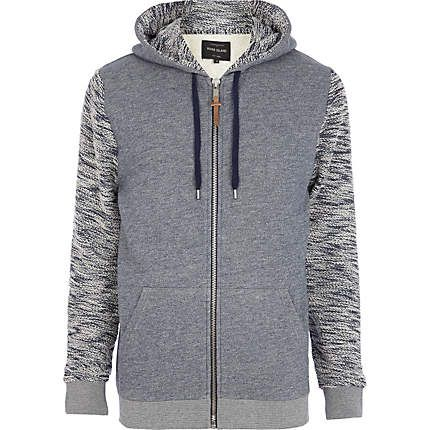 Navy textured sleeve zip through hoodie $70.00