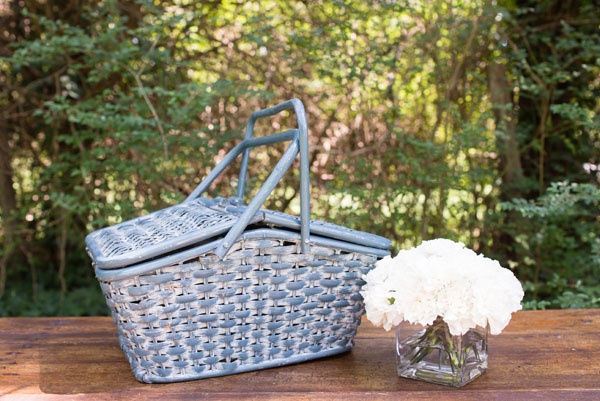 Picnic Basket - This blue wicker basket is a colorful accent piece, perfect for a stylized engagement shoot or as an event detail. *Paisley & Jade...Vintage & Eclectic Furniture Rentals for Events, Weddings & Photo Shoots*