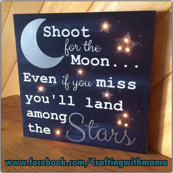 Shoot for the moon, Twinkle Lights, Nursery, Baby shower gift, Wood sign with saying, Child's room, Wood sign with inspirational