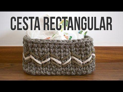Cesta Canasto Rectangular Trapillo Crochet Ganchillo - YouTube
