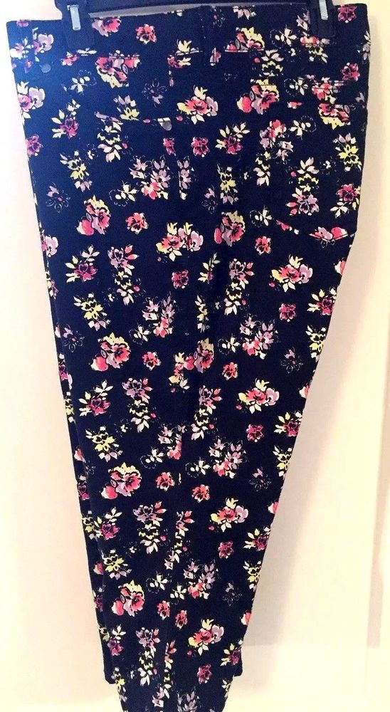 TORRID Jeans Denim Capris Cropped Black Pink Floral Stretch Sz 20 Cotton spandex #Torrid #Capristraightleg