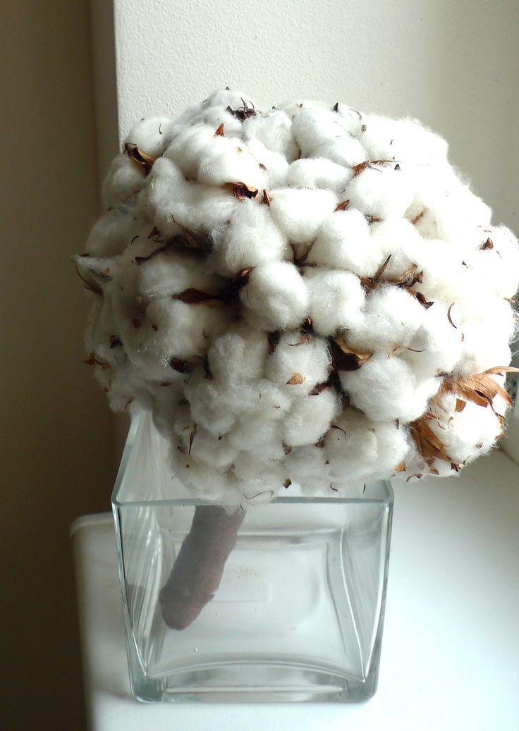 unusual wedding flower from cotton / netradiční svatební kytice z bavlníku / www.rosmarino.cz