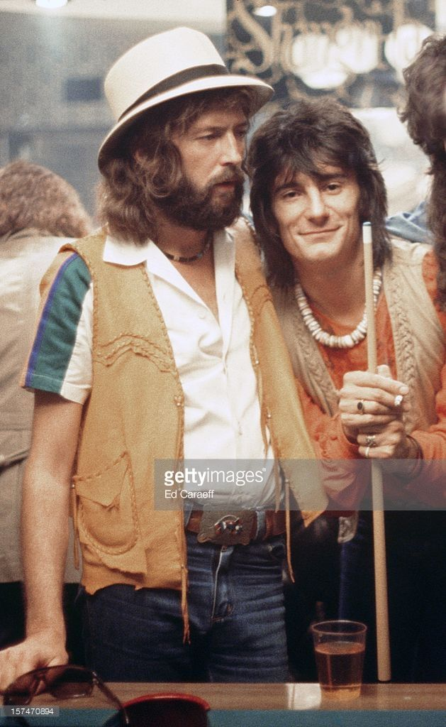 Musicians Eric Clapton and Ron Wood take a break during a recording session for 'No Reason To Cry' at Shangri La recording studio on November 21, 1975 in Malibu, California.