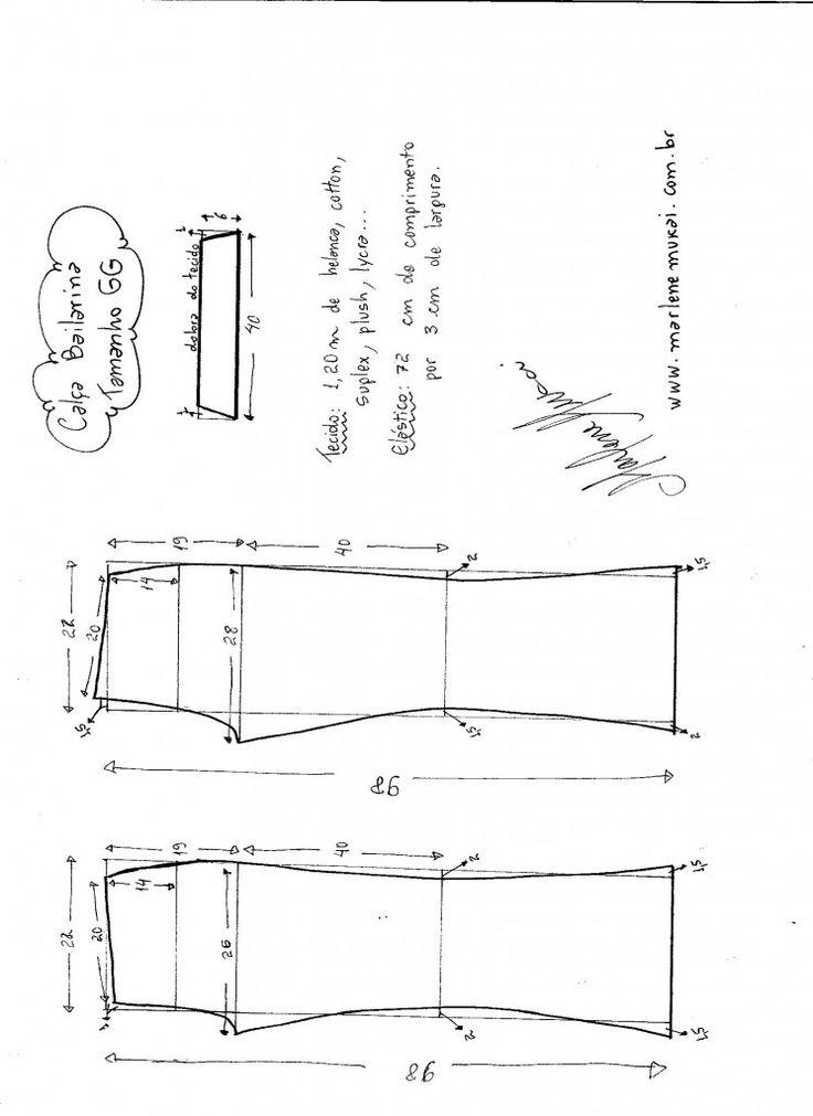 Esquema de modelagem de calça Bailarina tamanho GG.