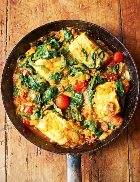 This luxurious salmon curry with spinach is packed with warming spices. An ideal gluten-free dinner that's ready in 50 minutes.