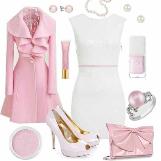 White Dress with Pink Dress Coat & Heels