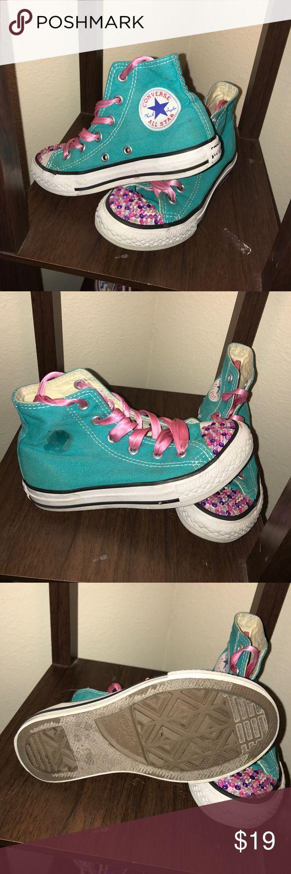 Toddler Girl size 12 Teal Converse Toddler Girl Size 12 Teal Converse, Gently Used Converse Shoes Sneakers