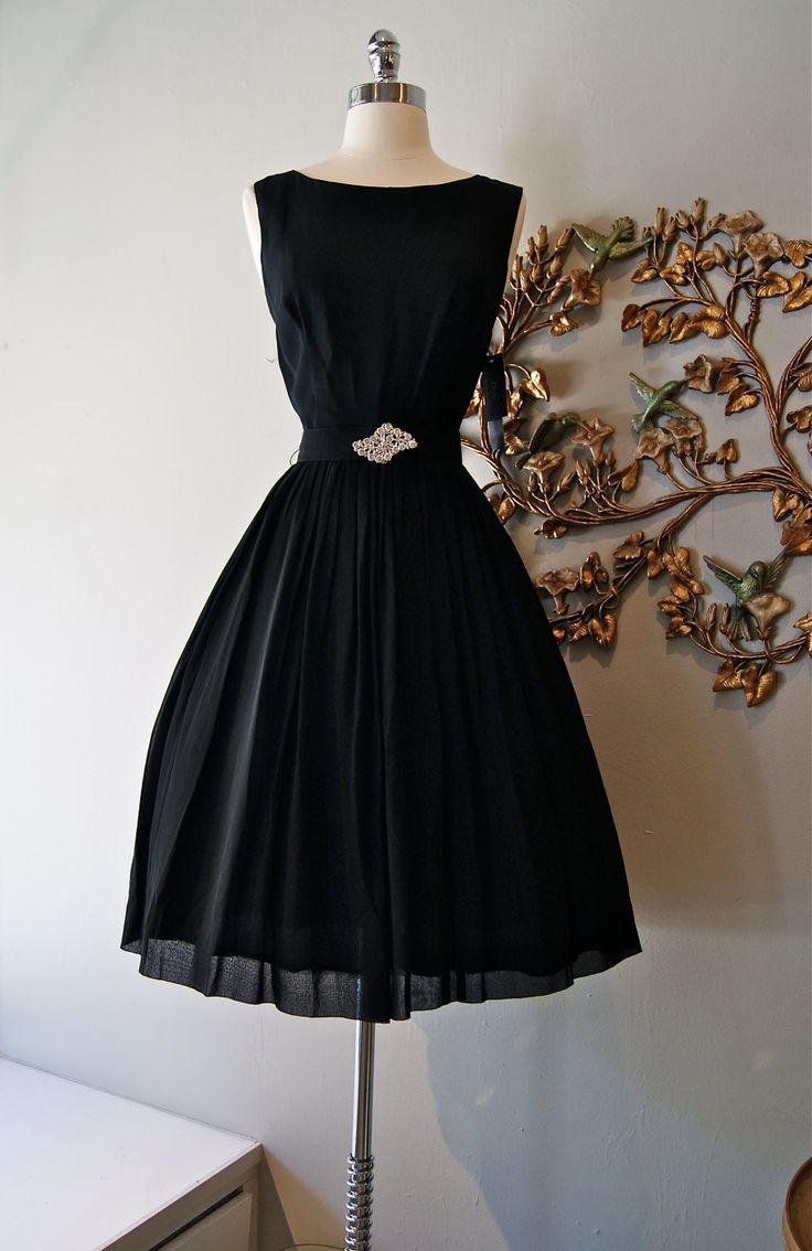 60s Dress // 60s Cocktail Dress // 60s Party Dress // Vintage 1960s Black Chiffon Party Dress with Rhinestone Belt Size M. $198.00, via Etsy.