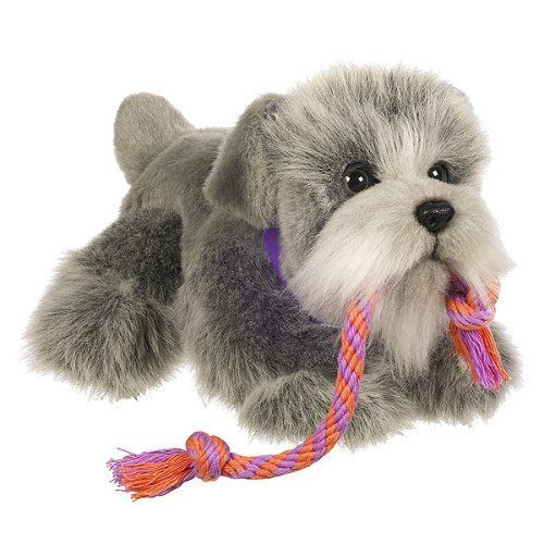 Fur Real Friends Tugging Pup Schnauzer by Hasbro. $159.97. This adorable canine is no ordinary pup!. This puppy even growls and barks!. Then watch your lovable companion come to life as it kneads its paws and makes puppy sounds. Give your plush pooch lots of love and affection by petting its soft fur. Pull on the puppy's rope toy to play a tugging game!. From the Manufacturer                This adorable canine is no ordinary pup! Give your plush pooch lots of love and affection...