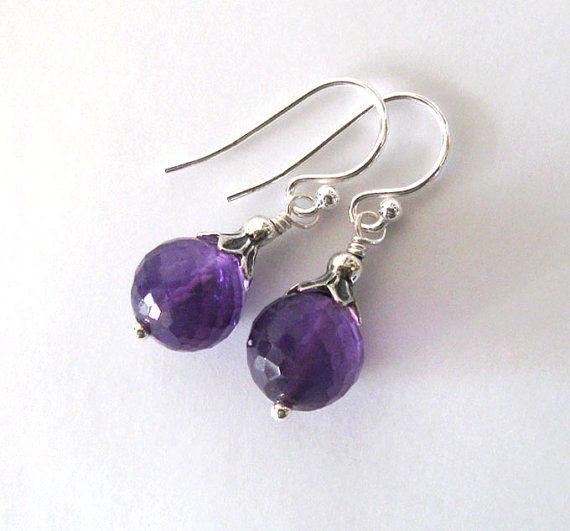 Amethyst Gemstone Sterling Silver Earrings by SendingLoveGallery, $30.00