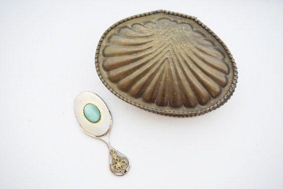 Antique Jewelry Box - scatola di gioielli Vintage - Vintage Wedding Decor - portagioie - ottone Trinket Box - Shell Jewelry Box - scatola di ottone in metallo