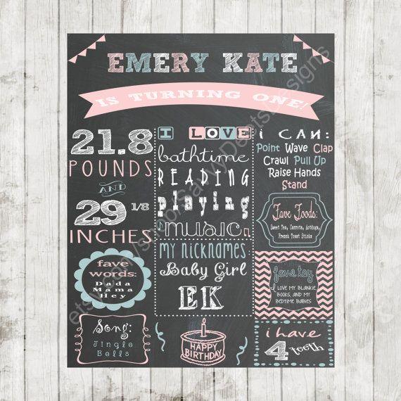 Custom Chalkboard Printable Birthday Sign - Girl First Birthday Poster - Digital Print