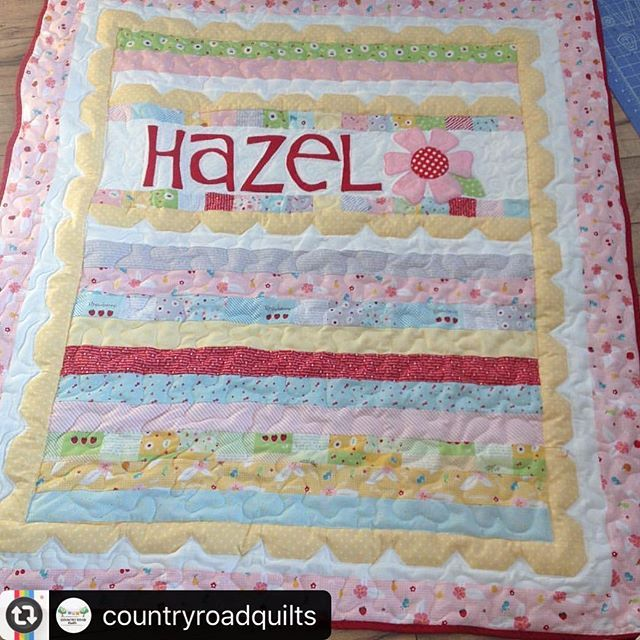 Repost}  Did you all see this darling version of my #sweetlyscallopedpattern sewn up by the mom of @countryroadquilts ?  Seriously love this. Terrific idea to customize with appliqué name and flower! Awesome!  Her sample is sewn in #sweetorchardfabric by @downgrapevinelane for @rileyblakedesigns  #carriedawayquilting #patchwork #iloverileyblake #rileyblakedesigns #jellyrollquilt #countryroadquilts