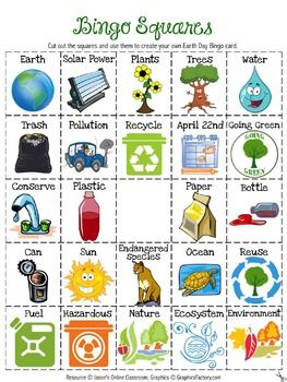 Free Earth Day Bingo Boards