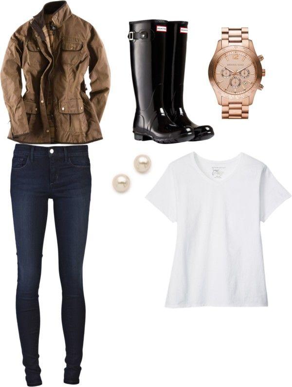 zipper jeans Hanes plus size v neck t shirt / Barbour cotton jacket / Joe's Jeans zipper jeans, $200 / Hunter black wellington boots, $130 / Juliet & Company tahitian pearl stud earrings