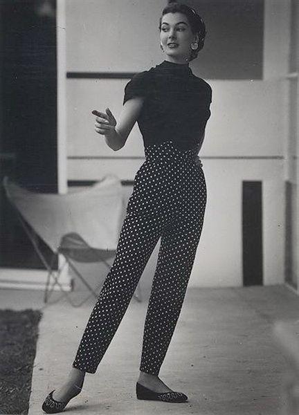 1950s polka dot pants with a V notch waistband