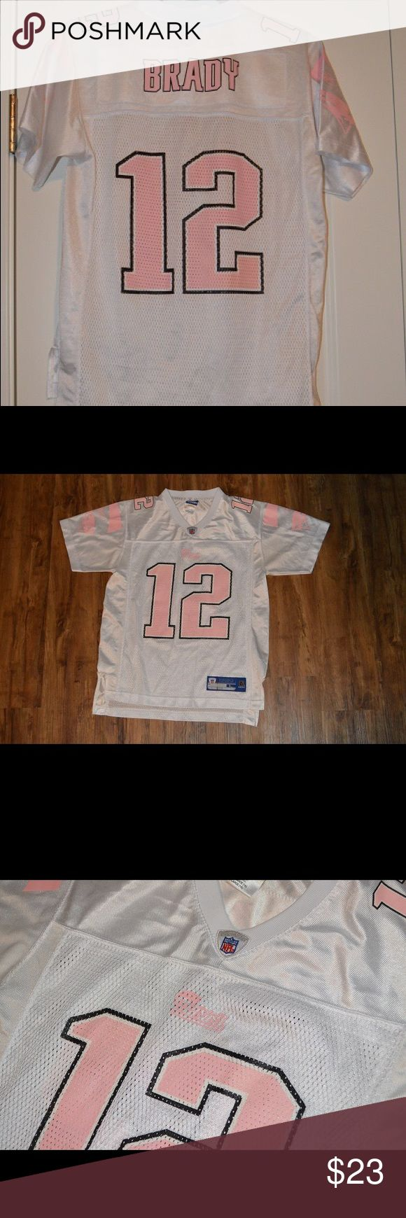 Tom Brady Patriots Jersey Youth (L) Size L (14) Youth Tom Brady Jersey. Fits Youth and Some Women's Sizes (For Reference—I am a Women's Size 4 and This Fit Well). Worn 1-2x, Washed Per Care Instructions. Great Condition!  No Trades Please—Reasonable Offers Considered! Smoke-Free Home. Reebok Shirts & Tops