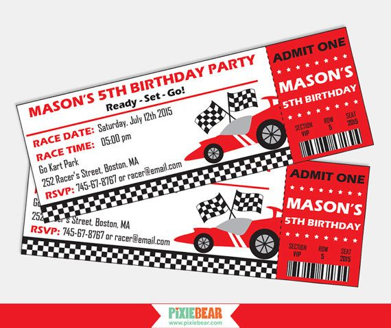 Race Car invitation for a Race Car Birthday by PixieBearParty on Etsy #RaceCar #BirthdayParty