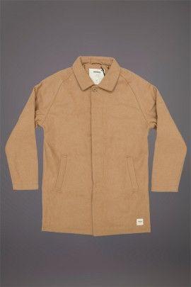 WEMOTO JOSHUA WOOL MAC TAN  WEMOTO A/W 14. Wool felt shell made of 60/40 Wool Acrylic mix with a polyester lining.  http://www.abandonshipapparel.com/product/wemoto-joshua-wool-mac-tan/