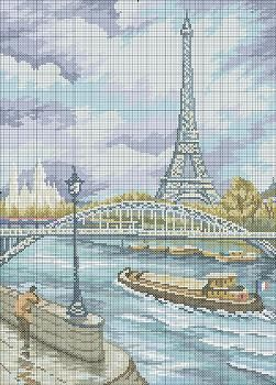 "Free cross-stitch pattern ""Eiffel Tower"" 