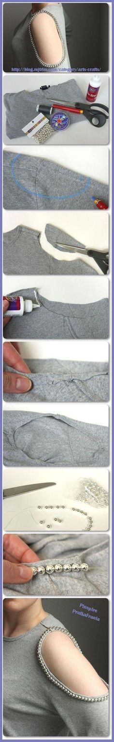 DIY T-shirt -- also try cutting all the way open/tying the open ends into knots