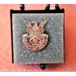 DEPARTMENT OF THE NAVY - 20 Years Service Award Pin Sterling Silver