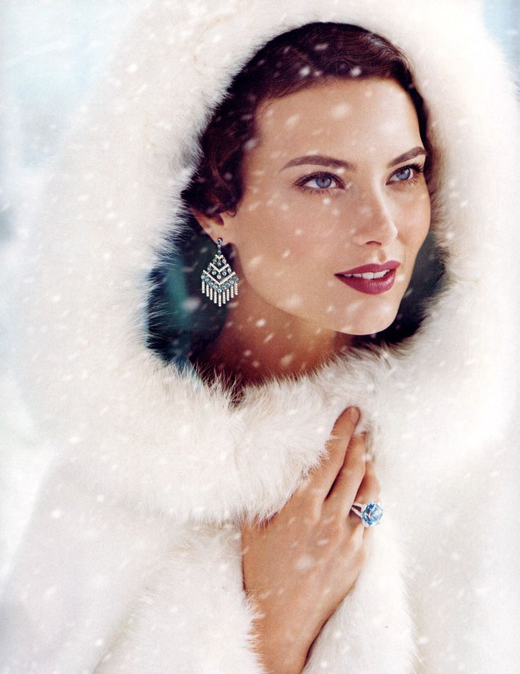 Shalom Harlow in a Tiffany ad wearing a beautiful white fur coat with white fox hood...