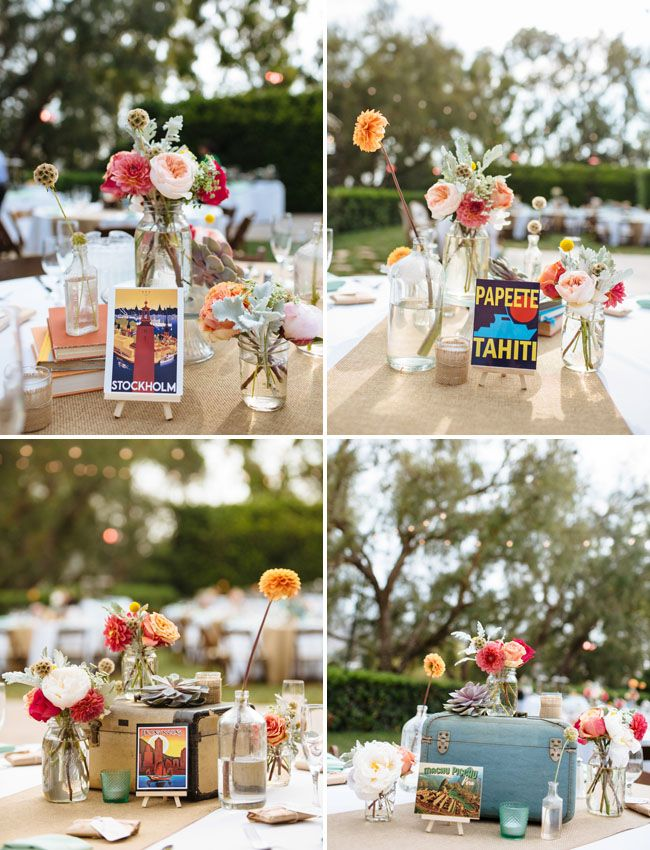 Postcard table names for travel - themed wedding.
