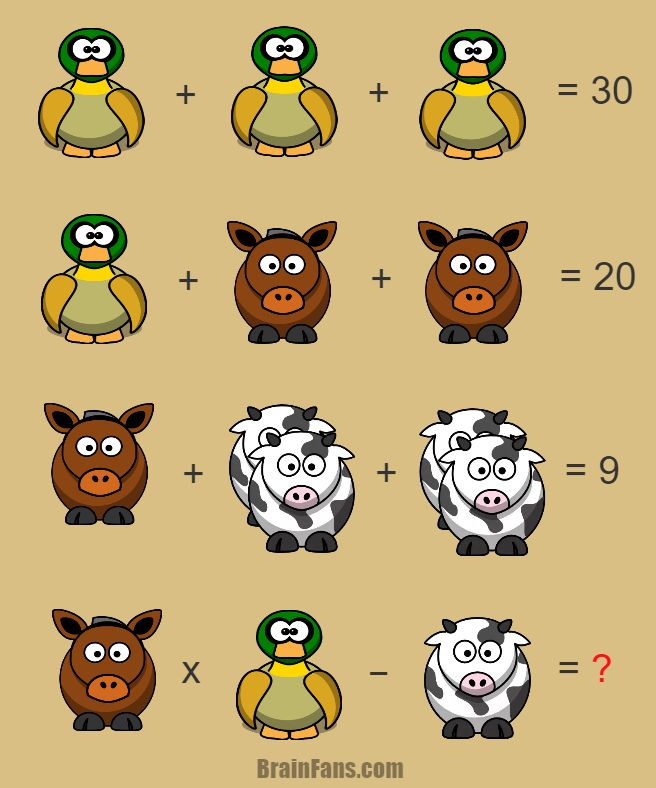 Brain teaser - Number And Math Puzzle - Math equation with answer - Solve this easy math equation with three animals. Each of them represent a number. Be care of the cow! There might be more of them.
