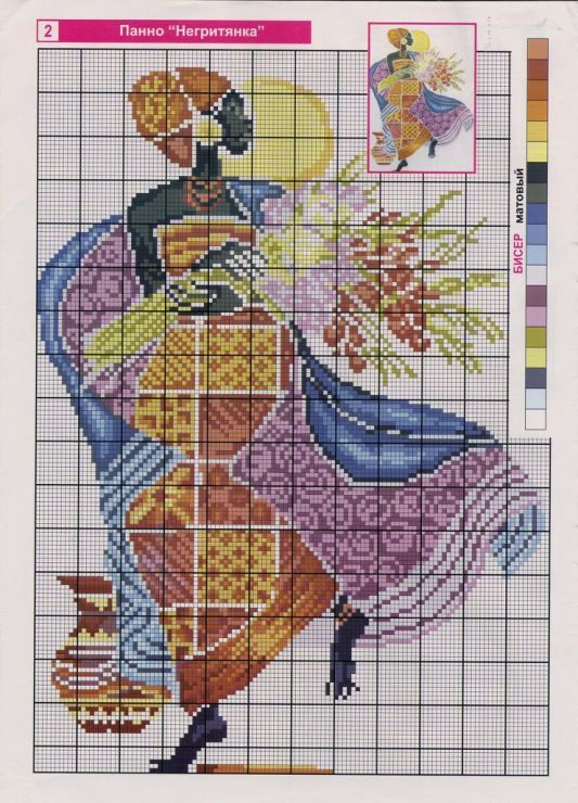 point de croix femme africaine & fleurs - cross stitch african woman with flowers