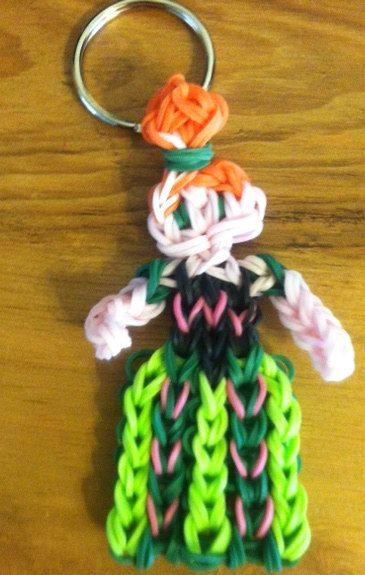 Rainbow Loom Princess Anna Coronation Keychain on Etsy, $5.00
