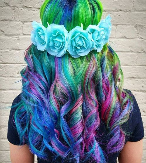 Curly Rainbow hair with blue flowers crown by hairbyjessysilva