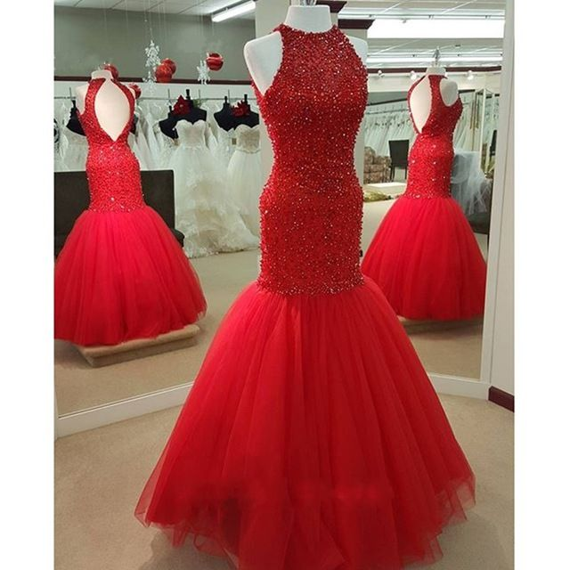 Red Mermaid Prom Dress Tulle Long Beaded
