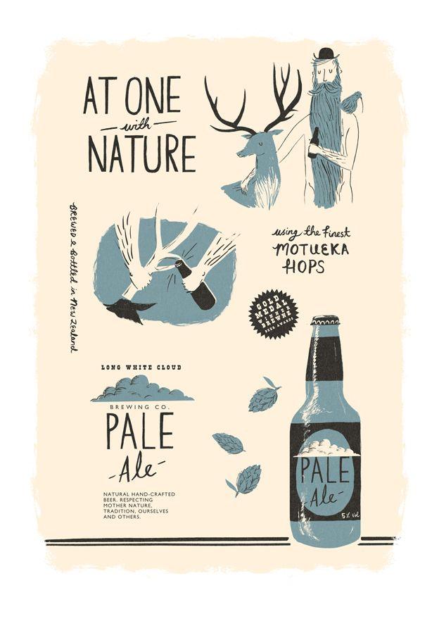 Long White Cloud Pale Ale - NICHOLAS JOHN FRITH : Illustration, At one with nature, Elk, deer, beer, hops, antlers, bottle opener, cap, bear, hat, mustache, clouds