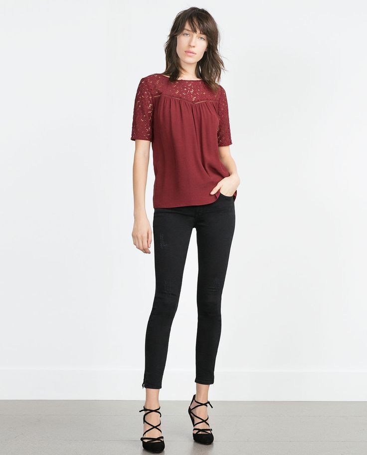 GUIPURE LACE BLOUSE-LACE-Tops-WOMAN | ZARA United States